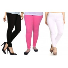 V-Luma Combo of 3Pcs Cotton Leggings For Girl & Women -Free Size