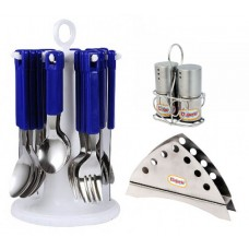 Elegante Combo of Table Craft Cutlery with Napkin Holder & Salt n pepper Blue
