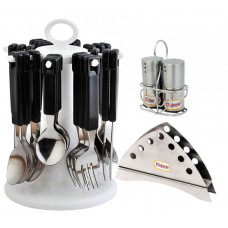 Elegante Combo of Table Craft Cutlery with Napkin Holder & Salt n pepper Black