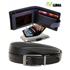 V-Luma Black Leather Wallet & Reversible Belt with Credit Card Holder
