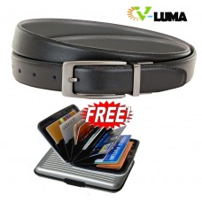 V-Luma Black Leather Belt with Free Credit Card Holder for Men's