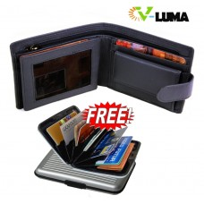 V-Luma Black Leather Wallet with free Credit Card Holder for Men's