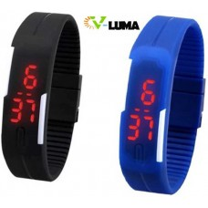 V-Luma Combo of Digital Slim Attractive LED sports watches Blue & Black