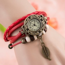 V-Luma Bracelet Watch for Ladies with Leather Strap Red