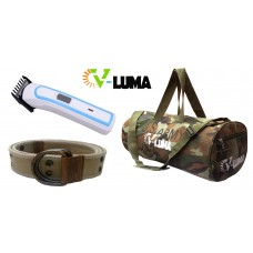 V-Luma Combo of Army Gym Bag with Canvas Belt & Hair Trimmer VLCOM1036