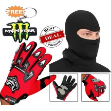 Knighthood Combo of Full Finger Gloves Red & Balaclava Face Mask Free key chain
